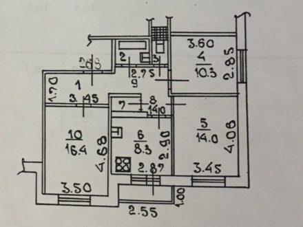 Продам трехкомнатную квартиру на 2-м этаже 9-этажного дома площадью 65,2 кв. м. в Липецке