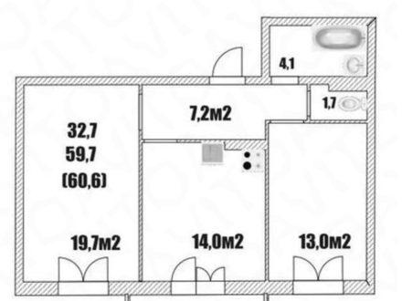Продам двухкомнатную квартиру на 7-м этаже 16-этажного дома площадью 60,6 кв. м. в Вологде