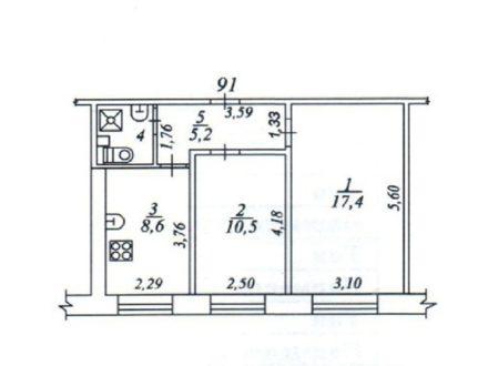 Продам двухкомнатную квартиру на 1-м этаже 5-этажного дома площадью 44 кв. м. в Сыктывкаре