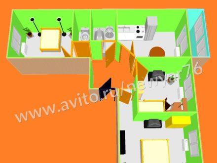Продам трехкомнатную квартиру на 5-м этаже 6-этажного дома площадью 76,7 кв. м. в Ярославле