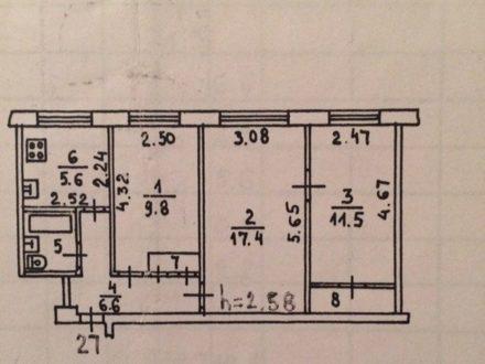 Продам трехкомнатную квартиру на 2-м этаже 5-этажного дома площадью 57 кв. м. в Мурманске