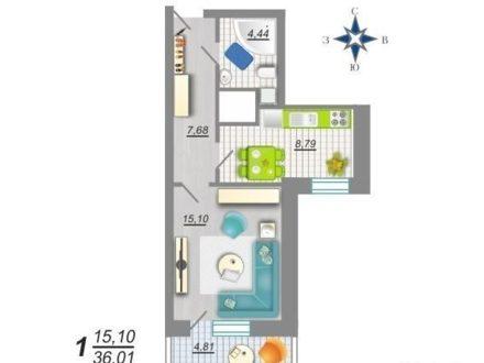 Продам однокомнатную квартиру на 17-м этаже 25-этажного дома площадью 37 кв. м. в Воронеже