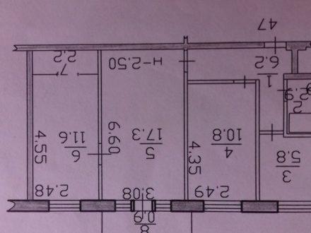 Продам трехкомнатную квартиру на 2-м этаже 5-этажного дома площадью 57,7 кв. м. в Биробиджане