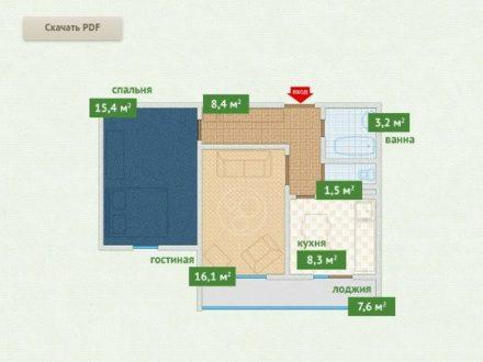 Продам двухкомнатную квартиру на 7-м этаже 16-этажного дома площадью 56,7 кв. м. в Чите