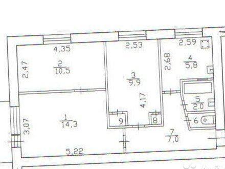 Продам трехкомнатную квартиру на 4-м этаже 5-этажного дома площадью 51 кв. м. в Петрозаводске