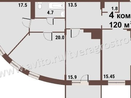 Продам четырехкомнатную квартиру на 14-м этаже 15-этажного дома площадью 120 кв. м. в Твери