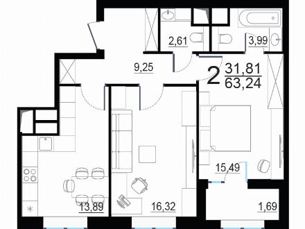 Продам двухкомнатную квартиру на 3-м этаже 24-этажного дома площадью 63,24 кв. м. в Москве