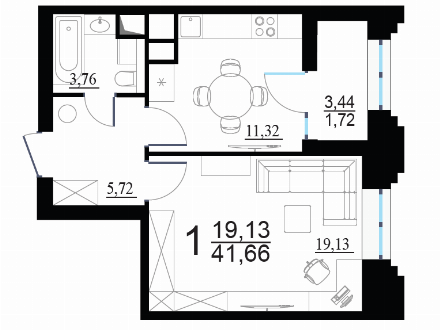 Продам однокомнатную квартиру на 3-м этаже 24-этажного дома площадью 41,66 кв. м. в Москве