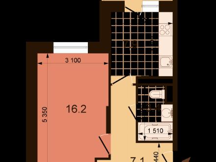 Продам однокомнатную квартиру на 9-м этаже 22-этажного дома площадью 35.5 кв. м. в Нижнем Новгороде