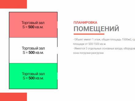 Сдам торговое помещение площадью 1500 кв. м. в Ижевске