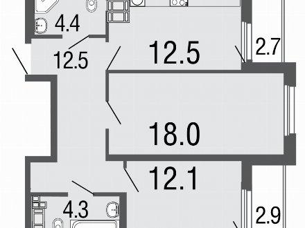 Продам двухкомнатную квартиру на 18-м этаже 19-этажного дома площадью 63.8 кв. м. в Санкт-Петербурге